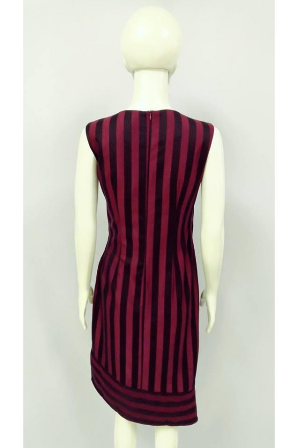 GRAYCE STRIPE DESIGN DRESS 22012 MAROON