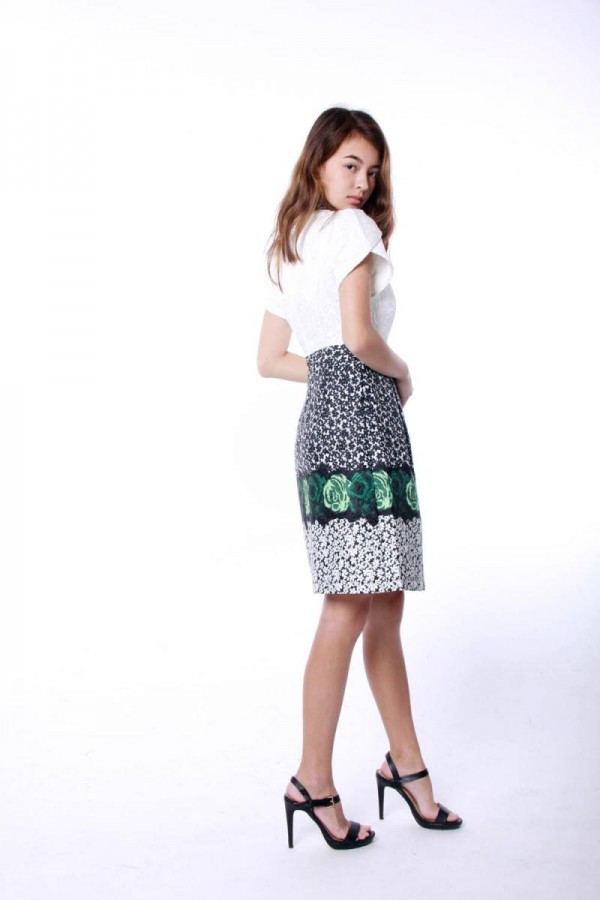 GREEN PRINT EMBOSSED CHEONGSAM