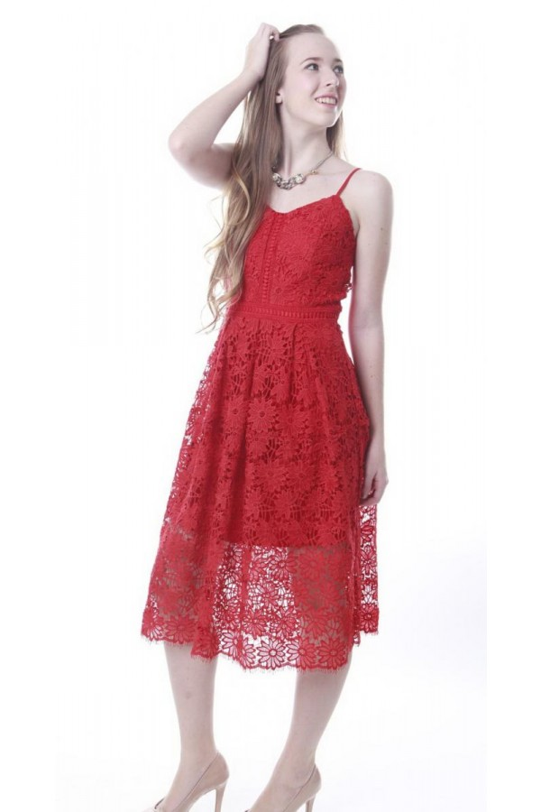 LACEY DRESS IN RED