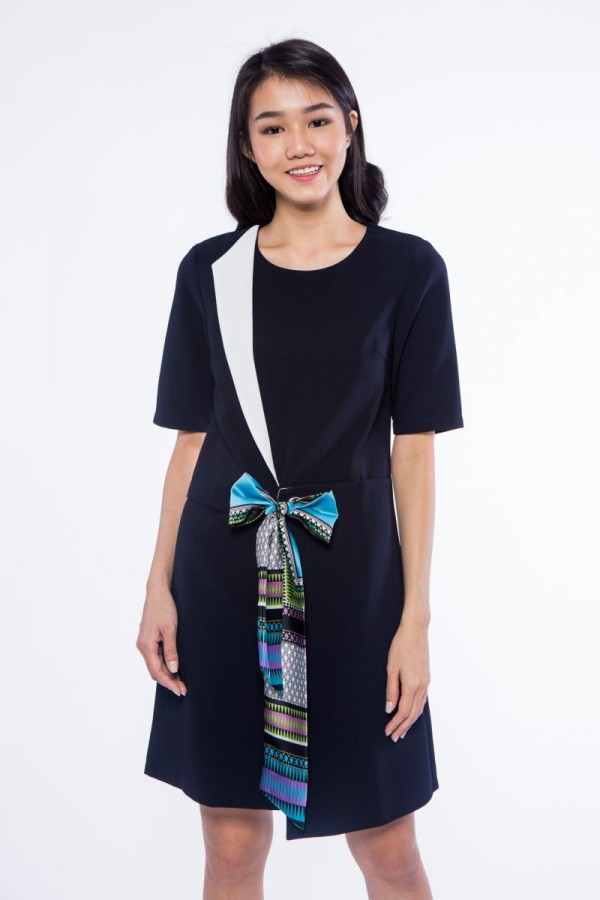 RELAXED FIT SCARF BOW DRESS BLUE 20070